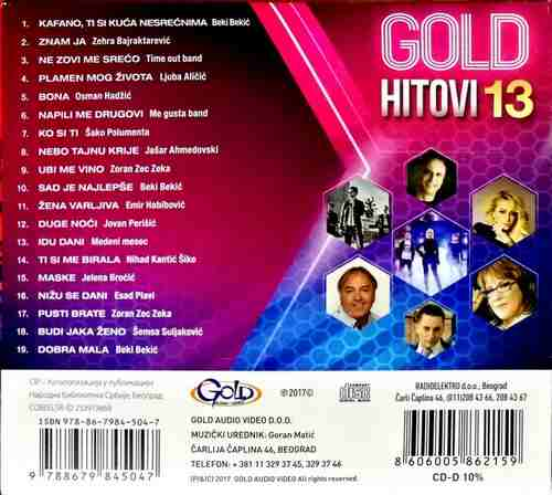 CD GOLD HITOVI 2013 KOMPILACIJA 2017 GOLD AUDIO VIDEO SRBIJA HRVATSKA BOSNA FOLK