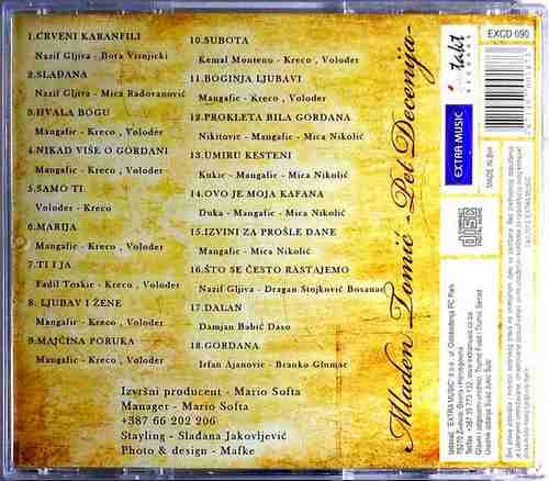 CD MLADEN TOMIC THE BEST OF PET DECENIJA EXTRA MUSIC COMPILATION 2012 NARODNA
