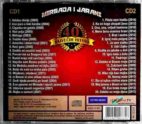 2CD MIRSADA I JARANI 40 NAJVECIH HITOVA 30 ZLATNIH GODINA EXTRA MUSIC JUBILEJ 2015