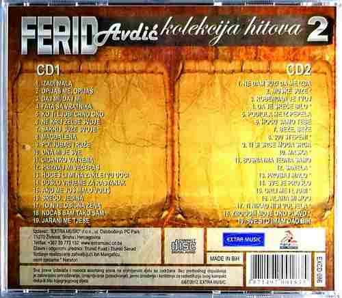 2CD FERID AVDIC KOLEKCIJA HITOVA 2 EXTRA MUSIC NARODNA COMPILATION 2012