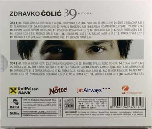 CD ZDRAVKO COLIC 39 HITOVA compilation 2008 PGP-RTRS Serbia Bosnia Croatia pop