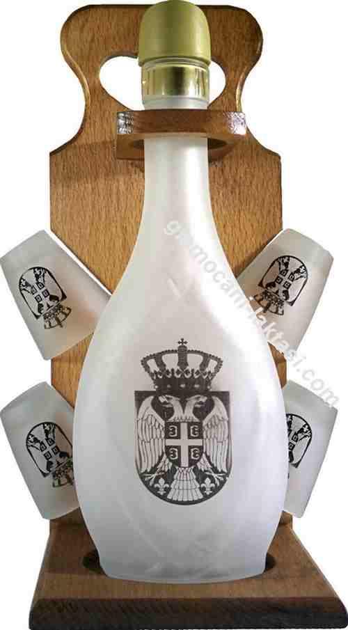 Slavski set flasa i 4 casice sa grbom Srbije peskareno staklo za zestoko pice